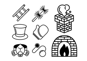 Chimney and Heating Coal Icons Set - vector gratuit #401053