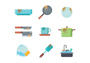 Free Dirty Dishes Vector - vector gratuit #401163