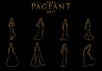 Pageant Line Art Free Vector - vector #401173 gratis