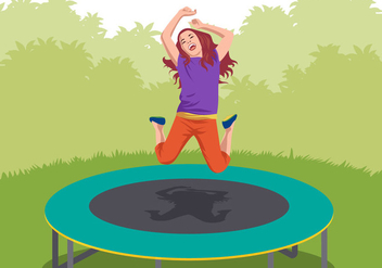 Kids Play Trampoline - Free vector #401183