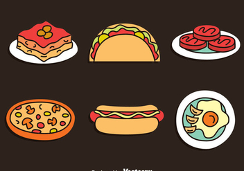 Hand Drawn Delicious Food Vector Set - Free vector #401223