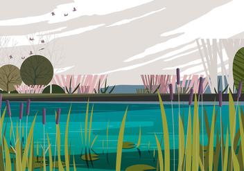 Peaceful Morning Swamp - бесплатный vector #401243