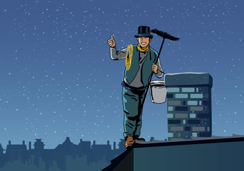 Chimney Sweep Holding Sweeper - vector gratuit #401293