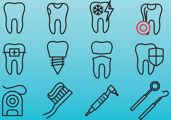 Dental Care Line Icons - Free vector #401393