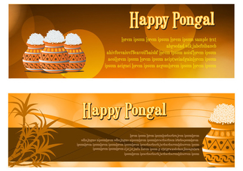 Happy Pongal Celebration Banner Vectors - Free vector #401533