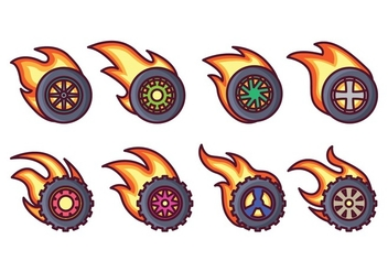 Burnout Wheel Vector Pack - vector gratuit #401543
