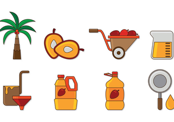 Set Of Palm Oil Icons - vector gratuit #401553