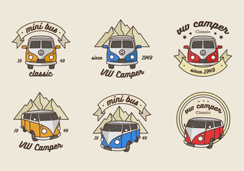 VW minibus logo vector pack - Free vector #401673