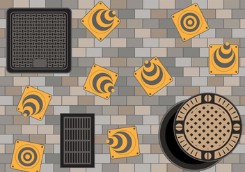 Manhole on the cobblestone road - vector #401763 gratis