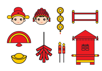 Free Chinese Wedding Vector Icons - Free vector #401803