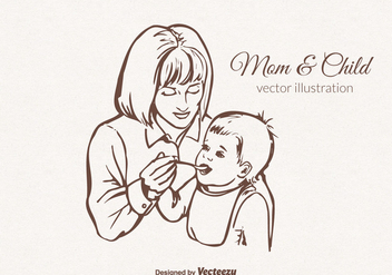 Free Vector Mom And Child Illustration - Free vector #401883