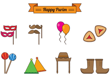 Set Of Purim Celebration Icons - vector gratuit #402003