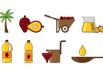 Set Of Palm Oil Icons - vector gratuit #402103