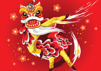 Chinese New Year Card with Plum Blossom and Lion Dance Vector - Free vector #402153