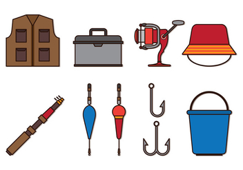 Set Of Fly Fishing Icons - Free vector #402203