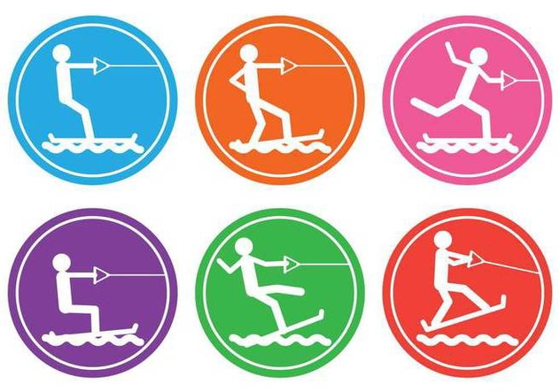 Water skiing vector - Free vector #402403