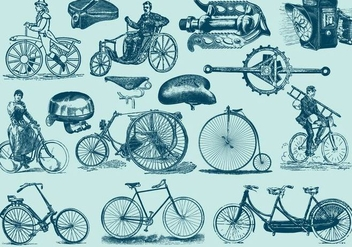 Blue Vintage Bicycle Illustrations - бесплатный vector #402613