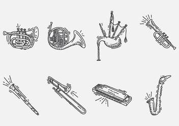 Hand Drawn Instrument Icon - vector gratuit #402643