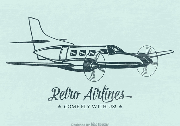 Free Retro Airplane Vector Poster - бесплатный vector #402863