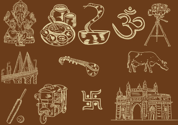 Set Of Mumbai Icon - Kostenloses vector #403053
