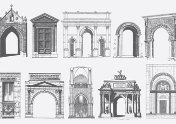 Gray Doors Portals And Archs - vector gratuit #403243
