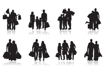 Free Family Shopping Silhouette Vector - Kostenloses vector #403373