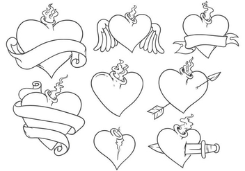 Free Sacred Heart Tattoo Vector - бесплатный vector #403393