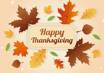 Free Happy Thanksgiving Day Leaves Banner - vector gratuit #403403