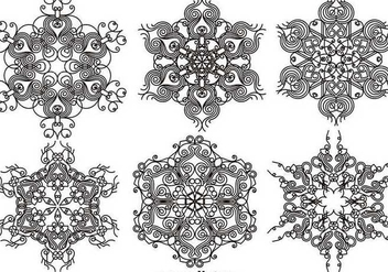 Elegant Ornamental Snowflakes - Vector set - бесплатный vector #403623