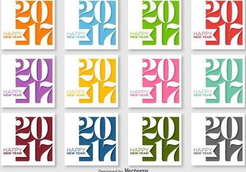 Happy New Year 2017 Vector Labels - Kostenloses vector #403643
