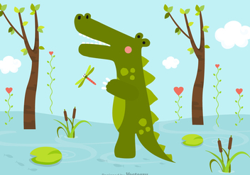 Free Cartoon Crocodile In Swamp Vector - Free vector #403723