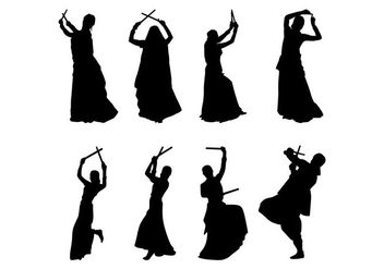 Free Garba Dancer Silhouettes Vector - бесплатный vector #403843