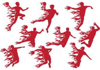 Handball Shoot with Fire Vectors - Free vector #403903