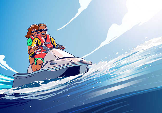 Riding Jet Ski Vector - vector #403923 gratis