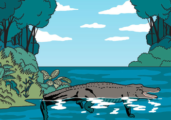 Gator In The Middle Of Jungle Vector - Free vector #403933