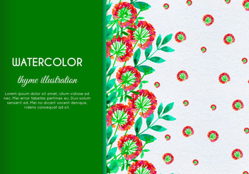Free Vector Hand Drawn Watercolor Thyme With Flowers And Leaves - Kostenloses vector #404073