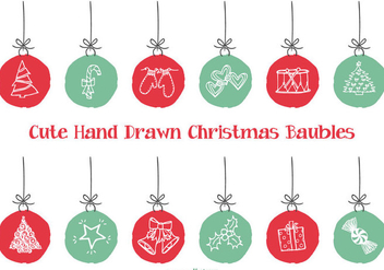 Cute Hand Drawn Style Xmas Baubles - бесплатный vector #404153