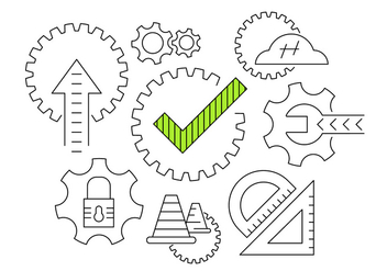 Working Gear Vector Icons - бесплатный vector #404543