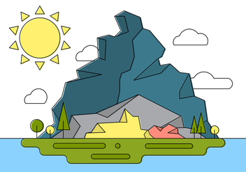 Rocky Landscape Island Vector Illustration - Free vector #404623