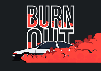 AE86 Car Drifting and Burnout Illustration - Free vector #405043