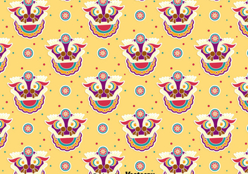 Funny Lion Dance Seamless Pattern - vector gratuit #405083