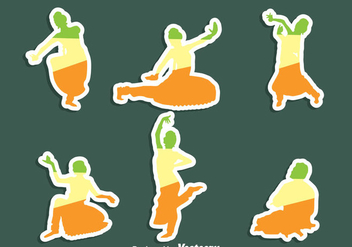 Bollywood Dance Sticker Vector Set - бесплатный vector #405103