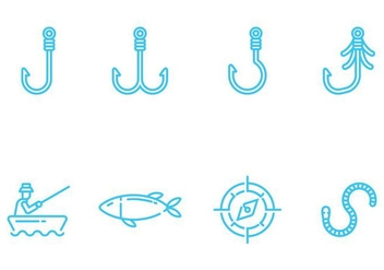 Fishing Icons Vectors - Free vector #405513
