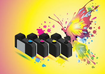 Ink Catridge Vector with Full Color Butterfly Background - Free vector #405653