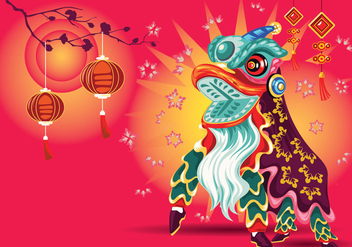 Vector Illustration Traditional Chinese Lion Dance Festival Background - vector gratuit #405663