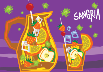Sangria Retro Illustration - vector gratuit #405823