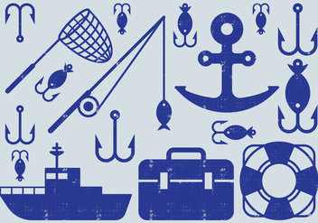 Fishing Element Icons - vector #405843 gratis