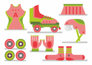 Woman Roller Derby Vector Set - Free vector #406173