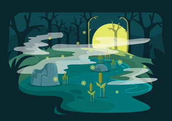 Swamp Vector Illustration - Free vector #406243