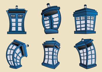 Vector cartoon illustration of Tardis blue police phone box - vector gratuit #406333